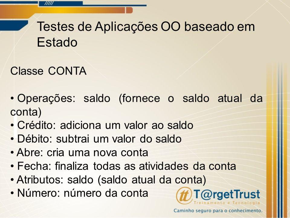 Testes de Aplicações OO baseado em Estado Classe CONTA Operações: saldo (fornece o saldo atual da conta) Crédito: adiciona um valor ao saldo Débito: s