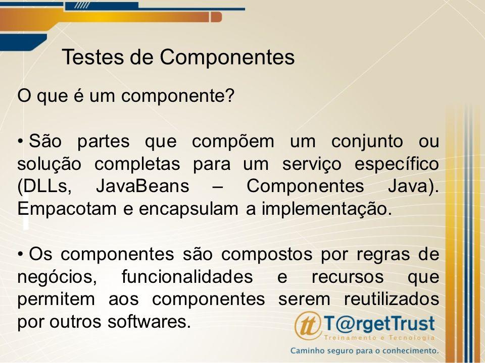 Testes de Componentes O que é um componente? São partes que compõem um conjunto ou solução completas para um serviço específico (DLLs, JavaBeans – Com