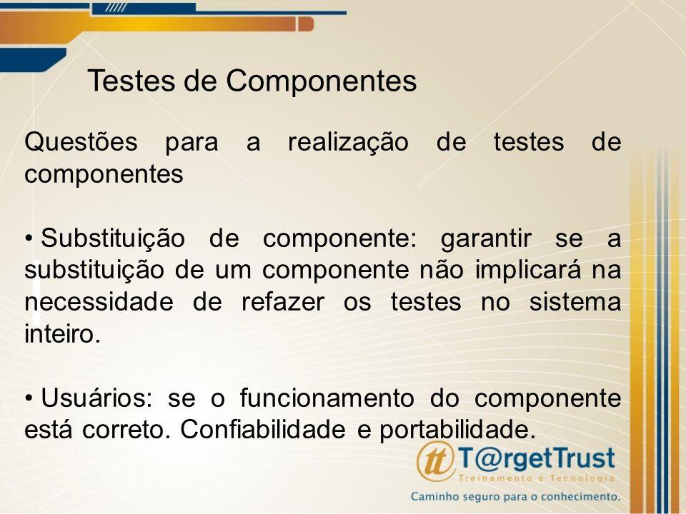 Testes de Componentes Questões para a realização de testes de componentes Substituição de componente: garantir se a substituição de um componente não