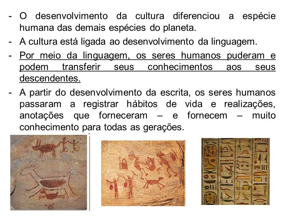 -O desenvolvimento da cultura diferenciou a espécie humana das demais espécies do planeta. -A cultura está ligada ao desenvolvimento da linguagem. -Po
