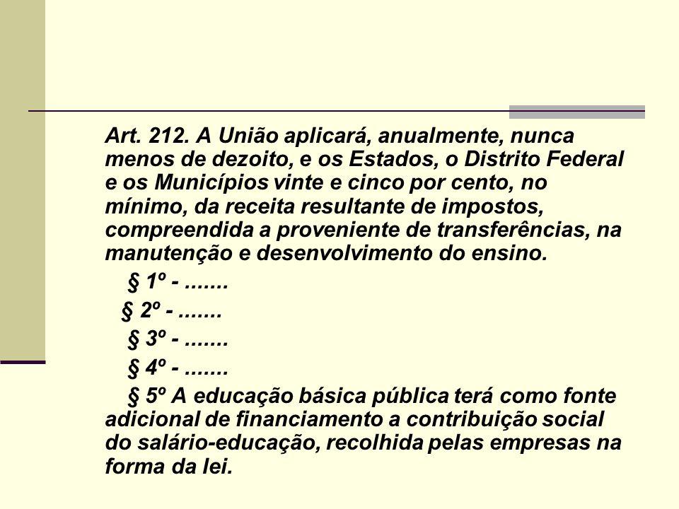Art. 212. A União aplicará, anualmente, nunca menos de dezoito, e os Estados, o Distrito Federal e os Municípios vinte e cinco por cento, no mínimo, d