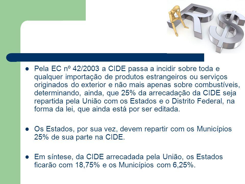 Pela EC nº 42/2003 a CIDE passa a incidir sobre toda e qualquer importação de produtos estrangeiros ou serviços originados do exterior e não mais apen
