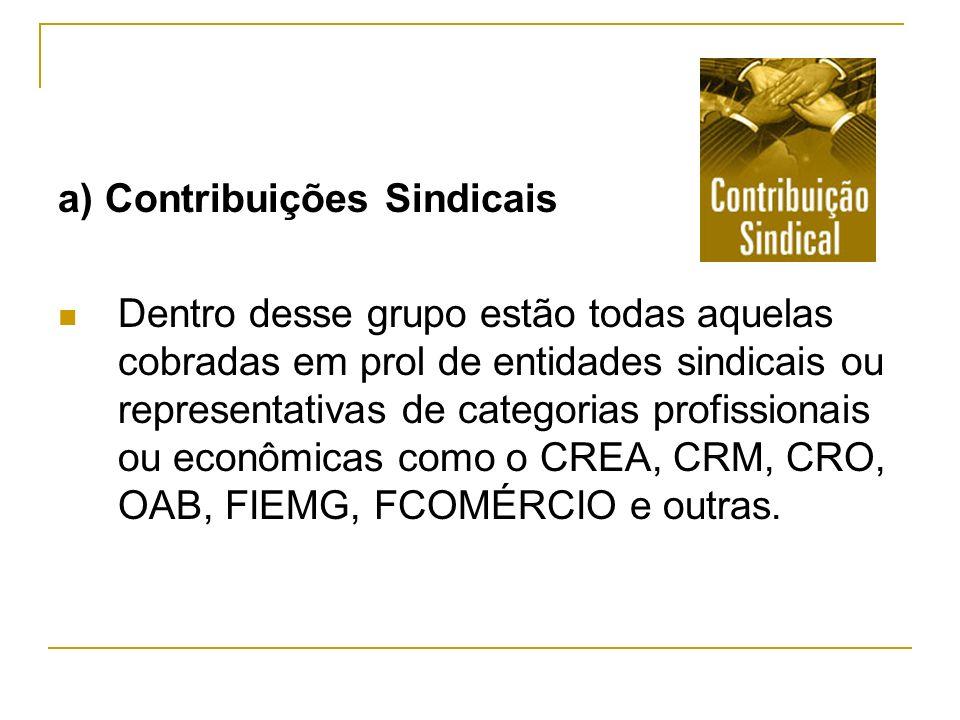 a) Contribuições Sindicais Dentro desse grupo estão todas aquelas cobradas em prol de entidades sindicais ou representativas de categorias profissiona
