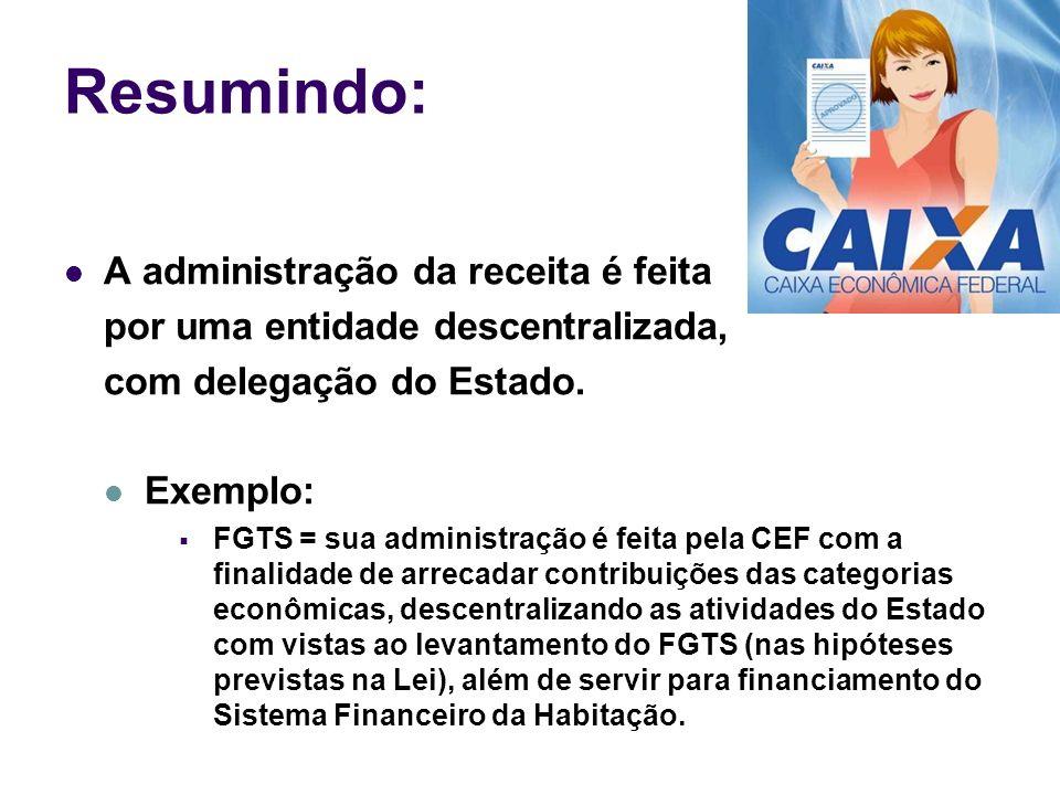 Resumindo: A administração da receita é feita por uma entidade descentralizada, com delegação do Estado. Exemplo: FGTS = sua administração é feita pel