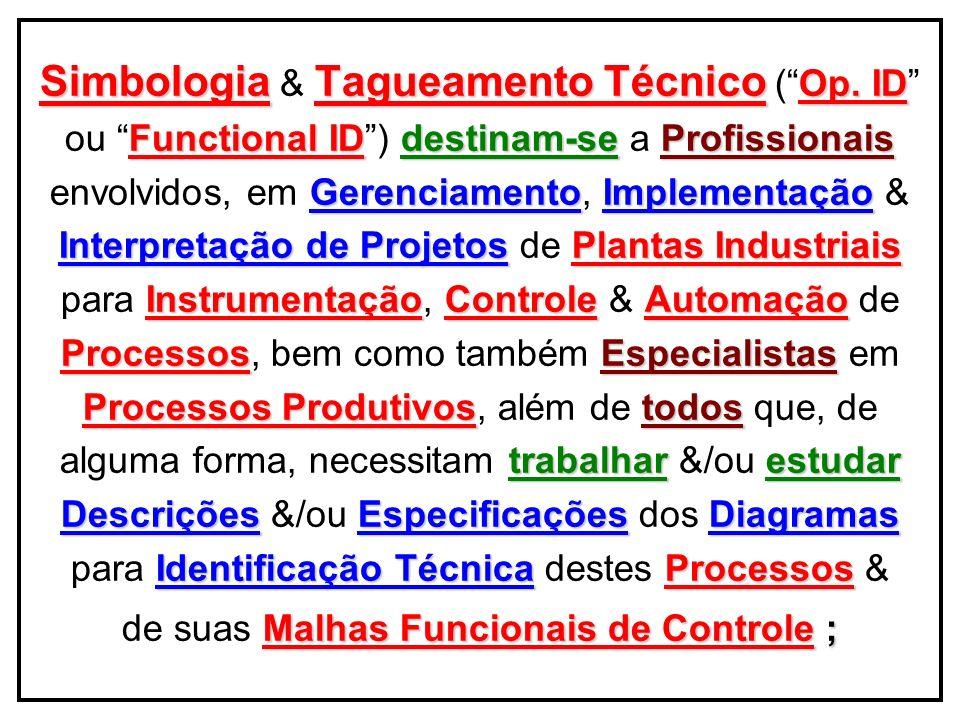 SimbologiaTagueamentoutilizados Simbologia & Tagueamento são utilizados Documentações Técnicas Projetos : nas Documentações Técnicas de Projetos : Concept ProjectCPCritérios Técnicos (Concept Project – CP) Classificação de Áreas Op.Plantas de Classificação de Áreas Op.