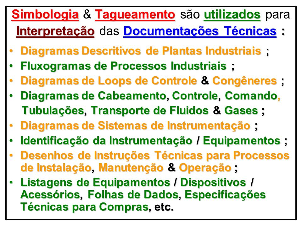 Simbologia Técnica & Tagueamento Identificação de Malhas & Funções Op.