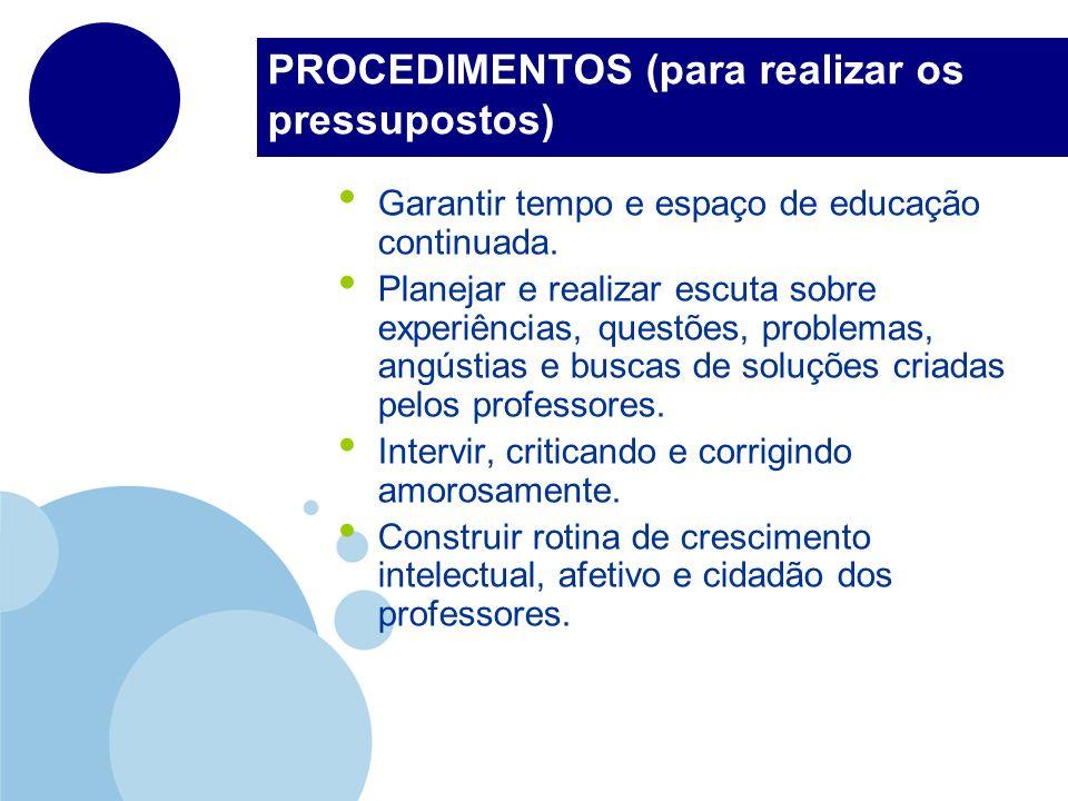 PROCEDIMENTOS (para realizar os pressupostos) Garantir tempo e espaço de educação continuada. Planejar e realizar escuta sobre experiências, questões,