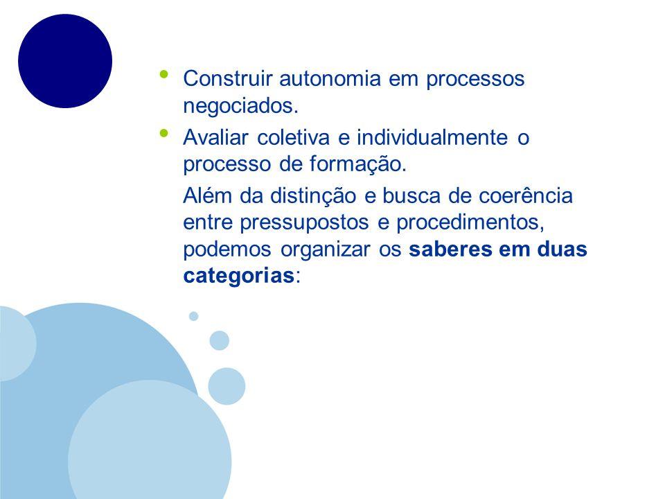 Construir autonomia em processos negociados. Avaliar coletiva e individualmente o processo de formação. Além da distinção e busca de coerência entre p