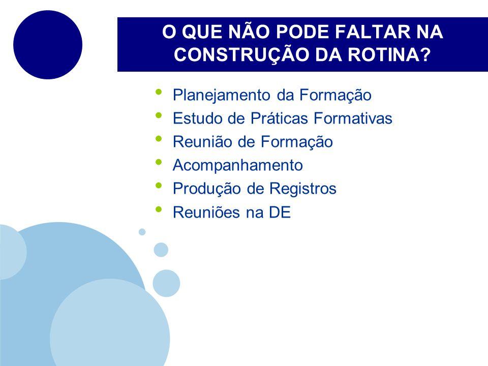 O QUE NÃO PODE FALTAR NA CONSTRUÇÃO DA ROTINA? Planejamento da Formação Estudo de Práticas Formativas Reunião de Formação Acompanhamento Produção de R
