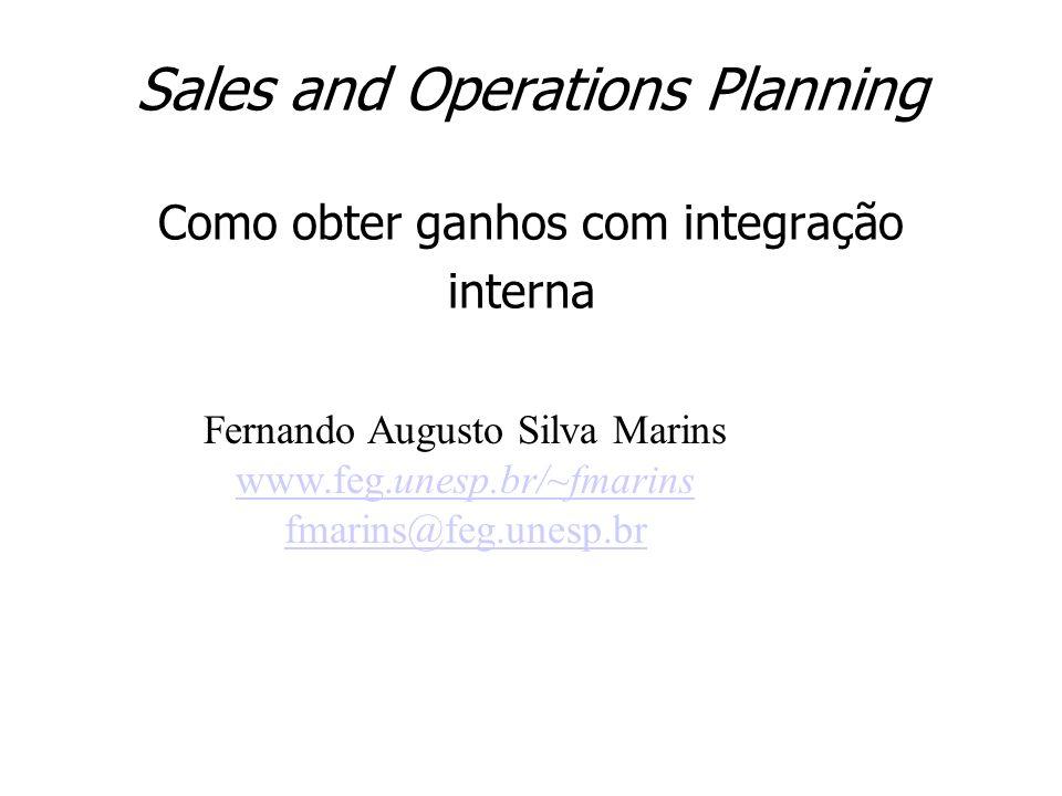 Sales and Operations Planning Como obter ganhos com integração interna. Fernando Augusto Silva Marins www.feg.unesp.br/~fmarins fmarins@feg.unesp.br