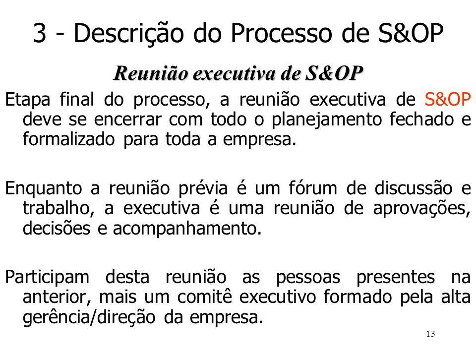 13 3 - Descrição do Processo de S&OP Reunião executiva de S&OP Etapa final do processo, a reunião executiva de S&OP deve se encerrar com todo o planej