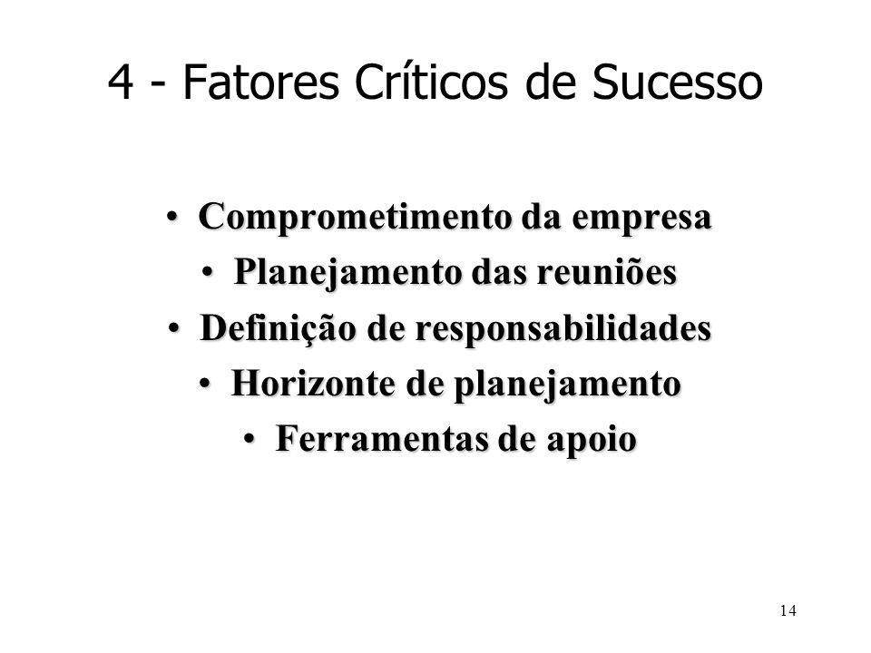 14 4 - Fatores Críticos de Sucesso Comprometimento da empresaComprometimento da empresa Planejamento das reuniõesPlanejamento das reuniões Definição d