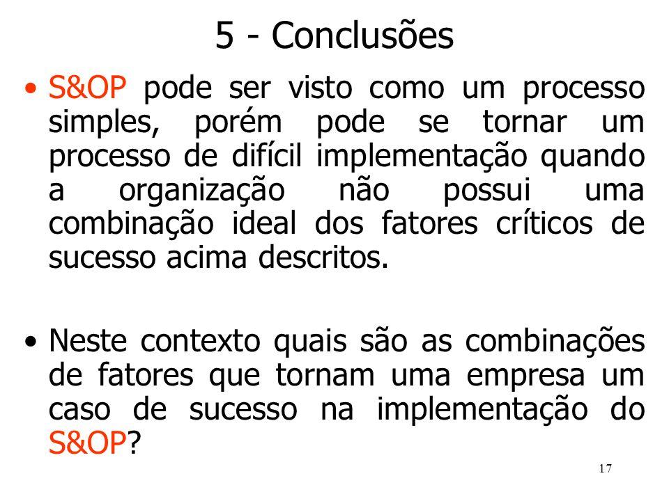 17 5 - Conclusões S&OP pode ser visto como um processo simples, porém pode se tornar um processo de difícil implementação quando a organização não pos