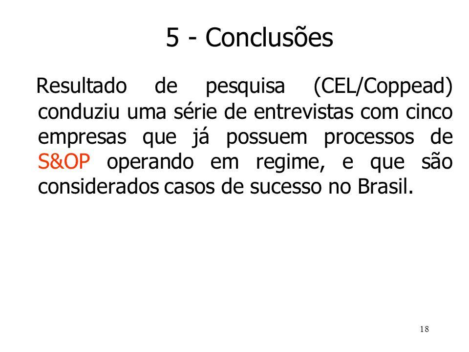18 Resultado de pesquisa (CEL/Coppead) conduziu uma série de entrevistas com cinco empresas que já possuem processos de S&OP operando em regime, e que