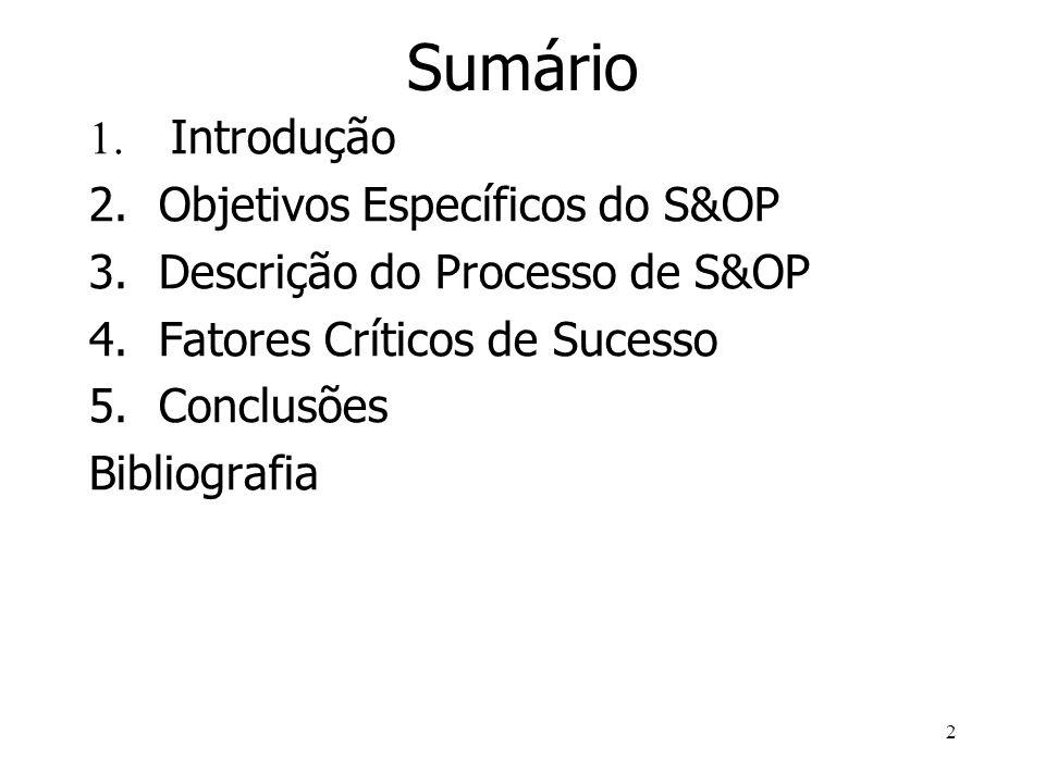 2 Sumário 1. Introdução 2.Objetivos Específicos do S&OP 3.Descrição do Processo de S&OP 4.Fatores Críticos de Sucesso 5.Conclusões Bibliografia