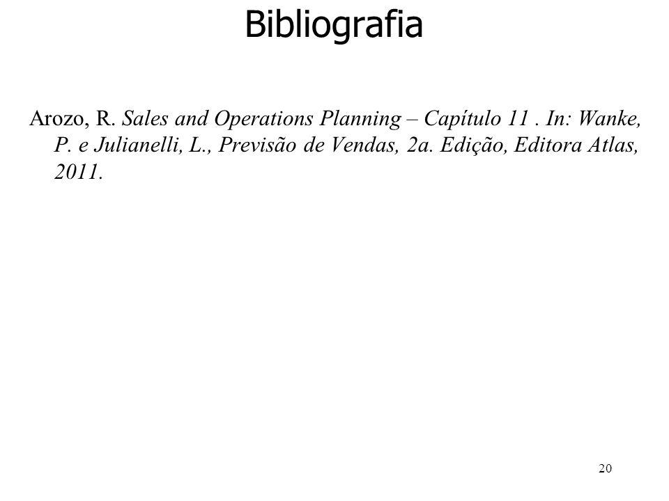 20 Bibliografia Arozo, R. Sales and Operations Planning – Capítulo 11. In: Wanke, P. e Julianelli, L., Previsão de Vendas, 2a. Edição, Editora Atlas,