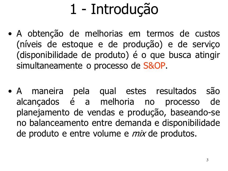 3 1 - Introdução A obtenção de melhorias em termos de custos (níveis de estoque e de produção) e de serviço (disponibilidade de produto) é o que busca