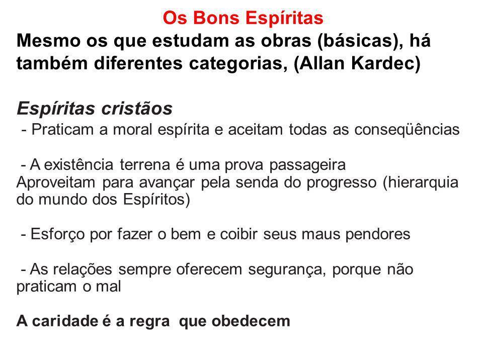 Os Bons Espíritas Mesmo os que estudam as obras (básicas), há também diferentes categorias, (Allan Kardec) Espíritas cristãos - Praticam a moral espír