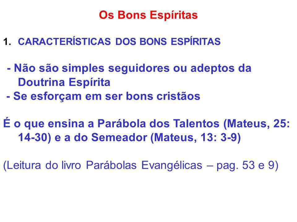 Os Bons Espíritas 1.CARACTERÍSTICAS DOS BONS ESPÍRITAS - Não são simples seguidores ou adeptos da Doutrina Espírita - Se esforçam em ser bons cristãos