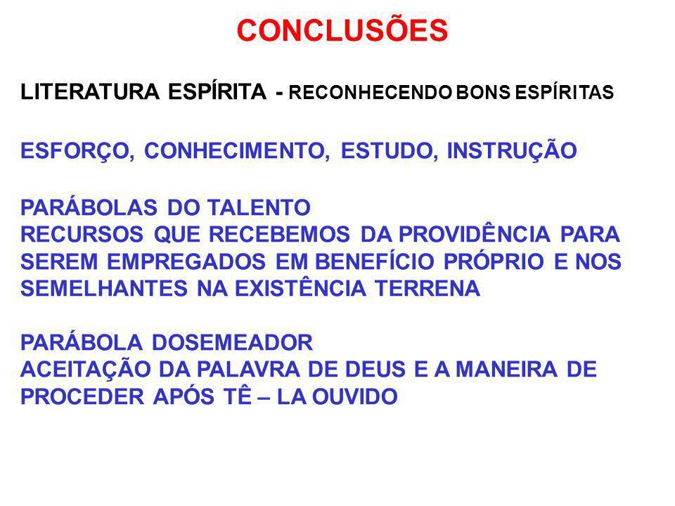 CONCLUSÕES LITERATURA ESPÍRITA - RECONHECENDO BONS ESPÍRITAS ESFORÇO, CONHECIMENTO, ESTUDO, INSTRUÇÃO PARÁBOLAS DO TALENTO RECURSOS QUE RECEBEMOS DA P