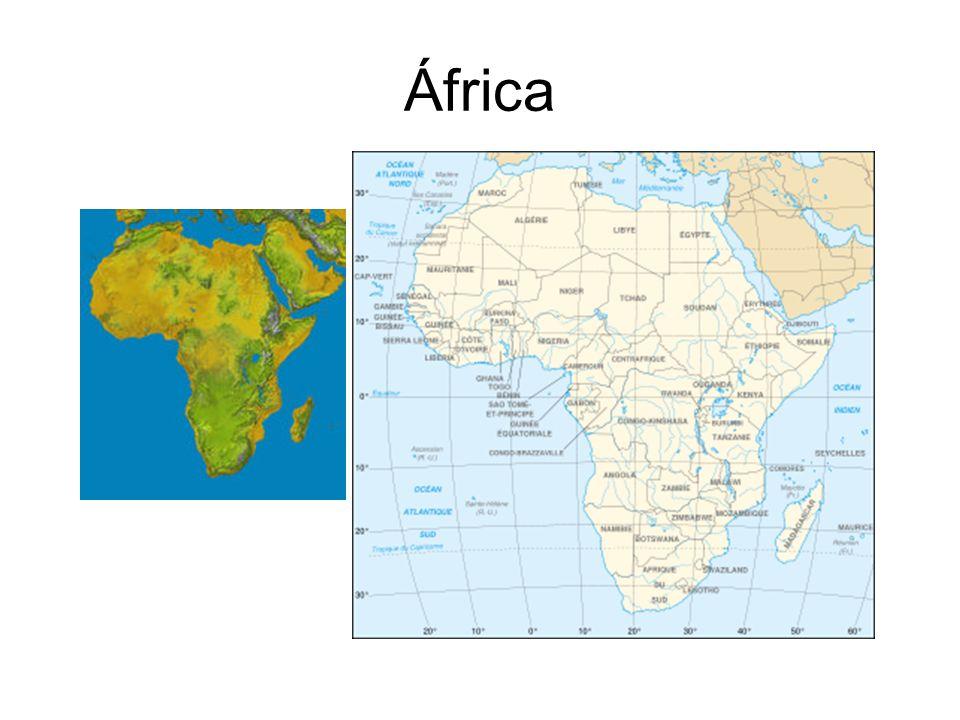 Origem do nome: deriva do nome dos afros, povo praticamente desconhecido, usado desde o século 17 para designar todo o continente Área: 30.347.700 Km 2 Divisão Política: 53 países População: 887.223.888 Religiões principais:Religiões –Muçulmanos (310,5 milhões - 39,6%)Muçulmanos –Católicos romanos (117,2 milhões - 14,9%)Católicos Envia: 2.585 missionários Recebe: 14.748 missionários