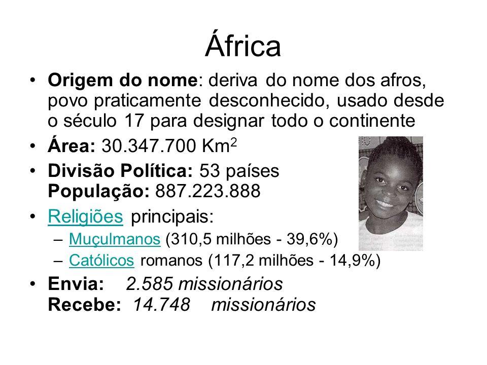 Origem do nome: deriva do nome dos afros, povo praticamente desconhecido, usado desde o século 17 para designar todo o continente Área: 30.347.700 Km