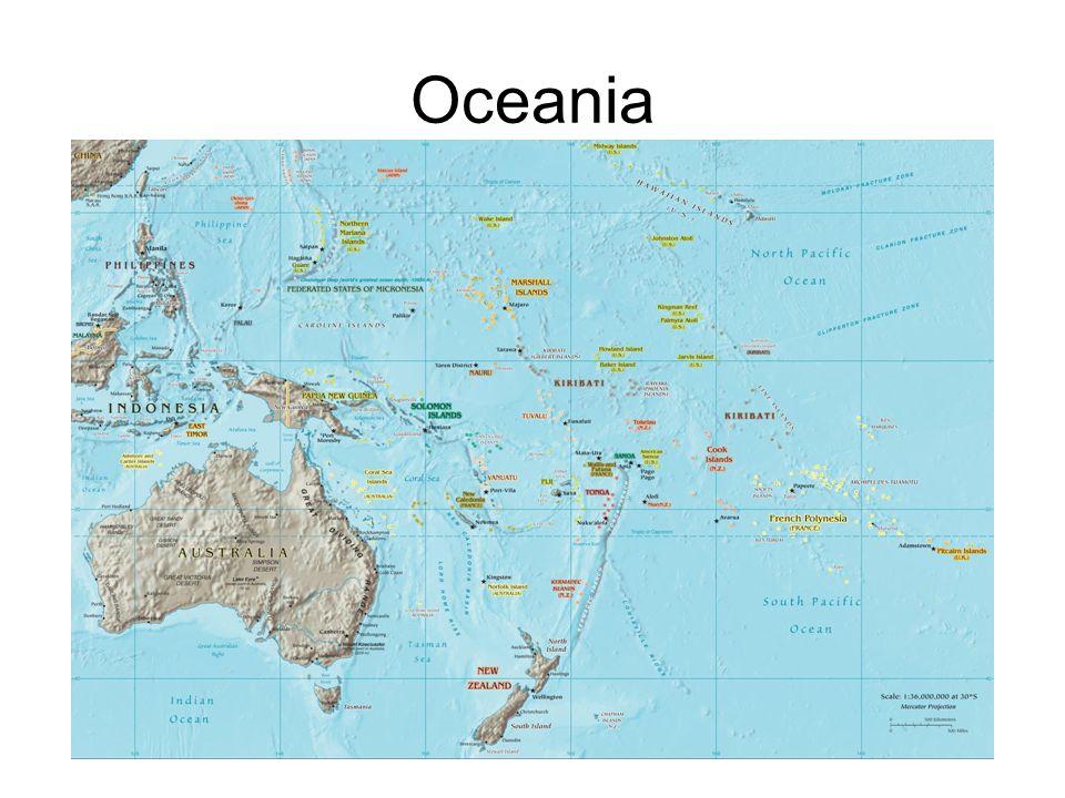 Origem do nome: Oceania deriva de Oceano.