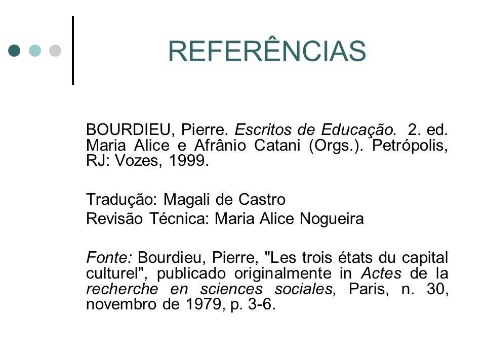 REFERÊNCIAS BOURDIEU, Pierre.Escritos de Educação.