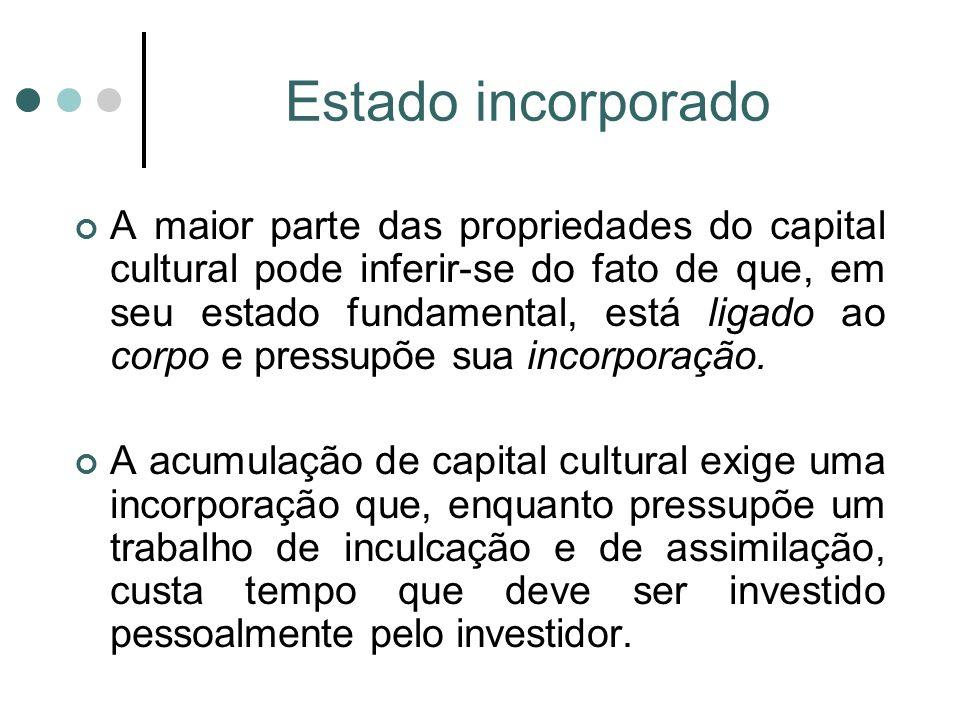 Estado incorporado A maior parte das propriedades do capital cultural pode inferir-se do fato de que, em seu estado fundamental, está ligado ao corpo e pressupõe sua incorporação.