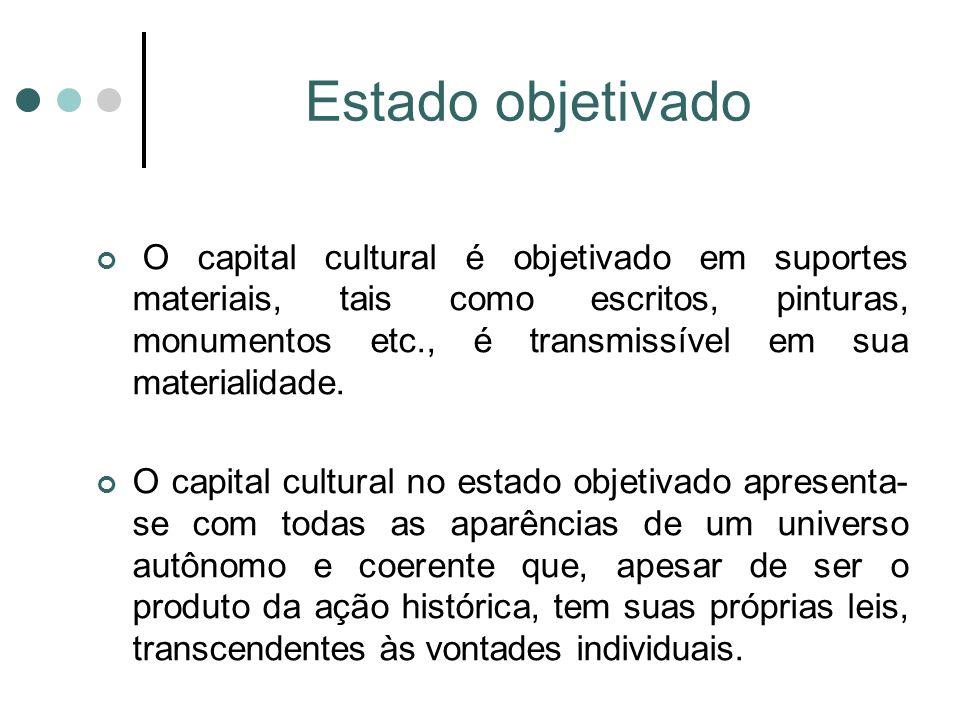 Estado objetivado O capital cultural é objetivado em suportes materiais, tais como escritos, pinturas, monumentos etc., é transmissível em sua materialidade.