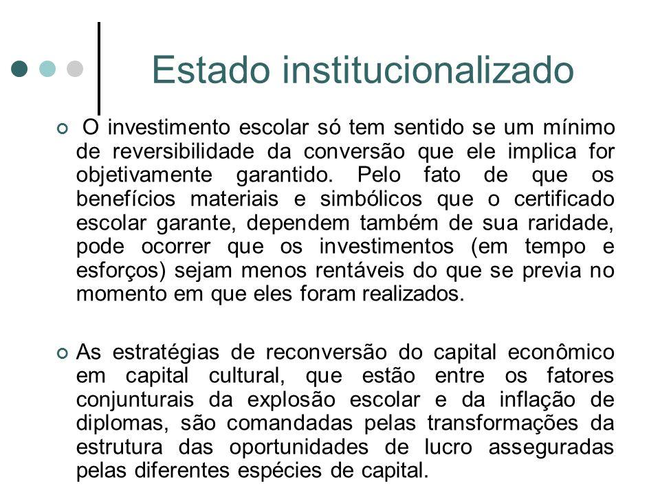 Estado institucionalizado O investimento escolar só tem sentido se um mínimo de reversibilidade da conversão que ele implica for objetivamente garantido.