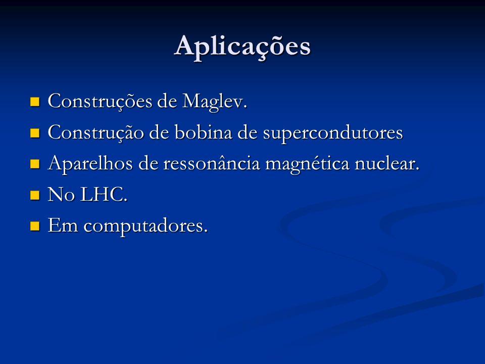 Aplicações Construções de Maglev. Construções de Maglev. Construção de bobina de supercondutores Construção de bobina de supercondutores Aparelhos de