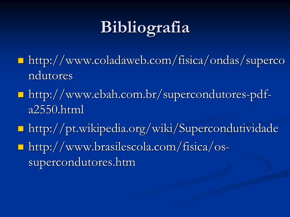 Bibliografia http://www.coladaweb.com/fisica/ondas/superco ndutores http://www.coladaweb.com/fisica/ondas/superco ndutores http://www.ebah.com.br/supe