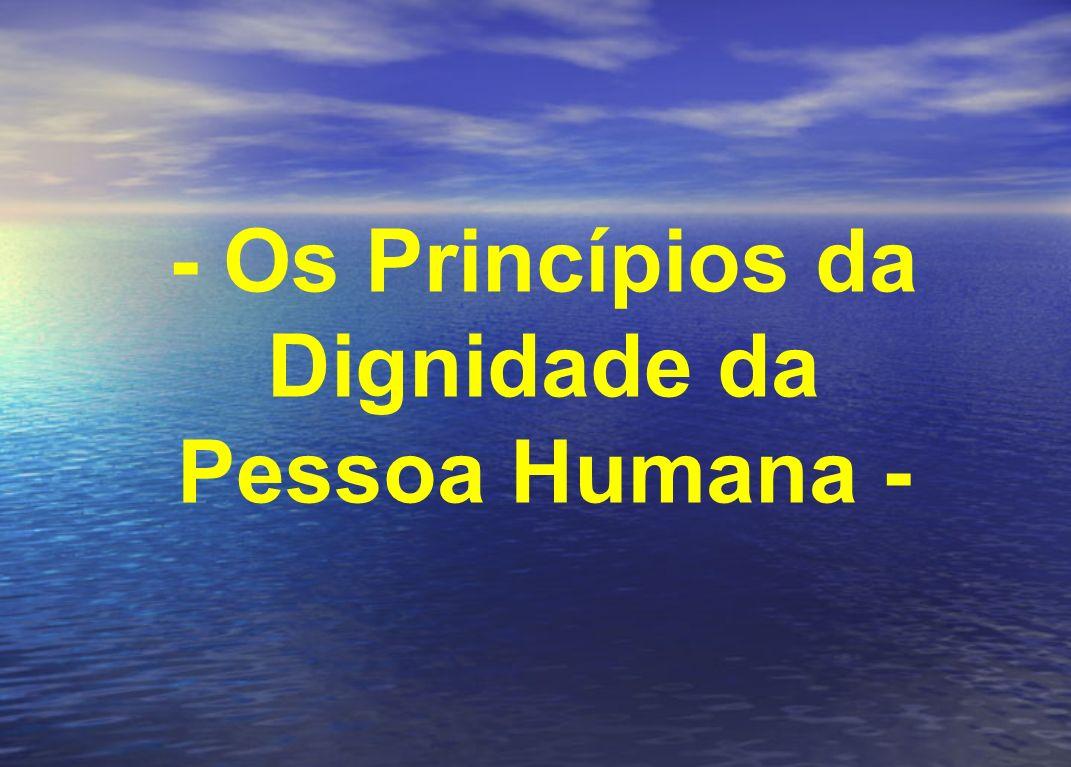- Os Princípios da Dignidade da Pessoa Humana -