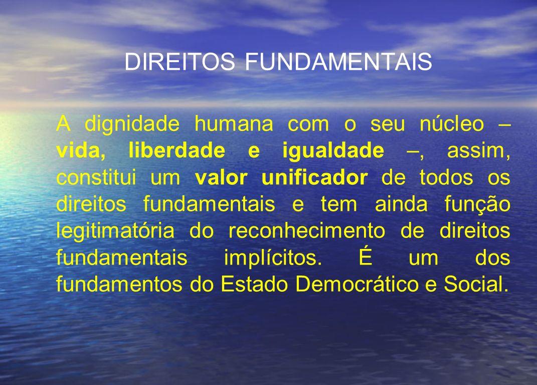 DIREITOS FUNDAMENTAIS A dignidade humana com o seu núcleo – vida, liberdade e igualdade –, assim, constitui um valor unificador de todos os direitos f