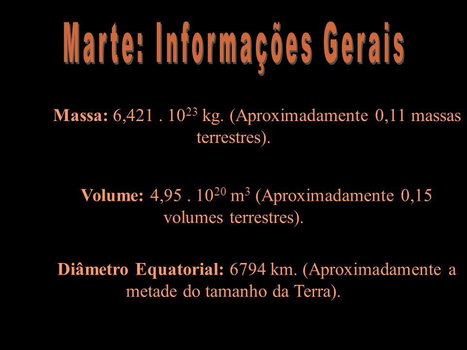 Massa: 6,421. 10 23 kg. (Aproximadamente 0,11 massas terrestres). Volume: 4,95. 10 20 m 3 (Aproximadamente 0,15 volumes terrestres). Diâmetro Equatori