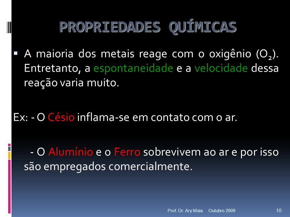 PROPRIEDADES QUÍMICAS A maioria dos metais reage com o oxigênio (O 2 ).