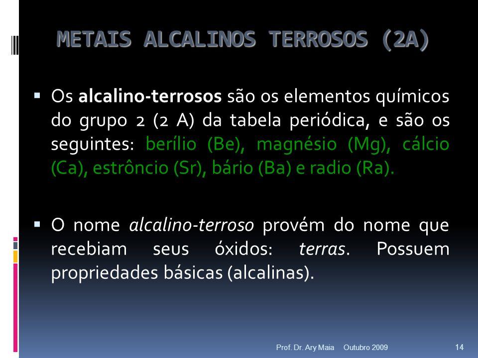 METAIS ALCALINOS TERROSOS (2A) Os alcalino-terrosos são os elementos químicos do grupo 2 (2 A) da tabela periódica, e são os seguintes: berílio (Be), magnésio (Mg), cálcio (Ca), estrôncio (Sr), bário (Ba) e radio (Ra).