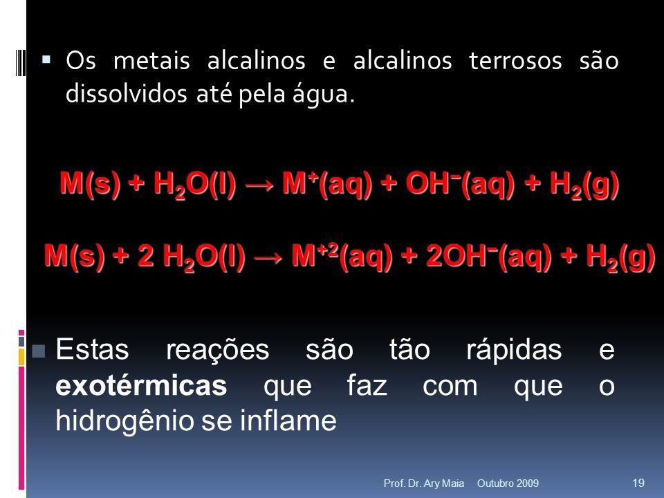 Os metais alcalinos e alcalinos terrosos são dissolvidos até pela água.