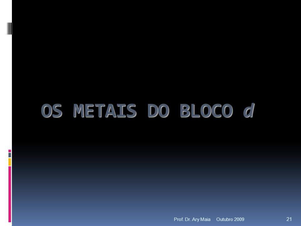 OS METAIS DO BLOCO d Outubro 2009 21 Prof. Dr. Ary Maia