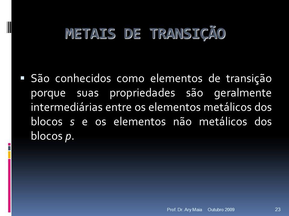 METAIS DE TRANSIÇÃO São conhecidos como elementos de transição porque suas propriedades são geralmente intermediárias entre os elementos metálicos dos blocos s e os elementos não metálicos dos blocos p.