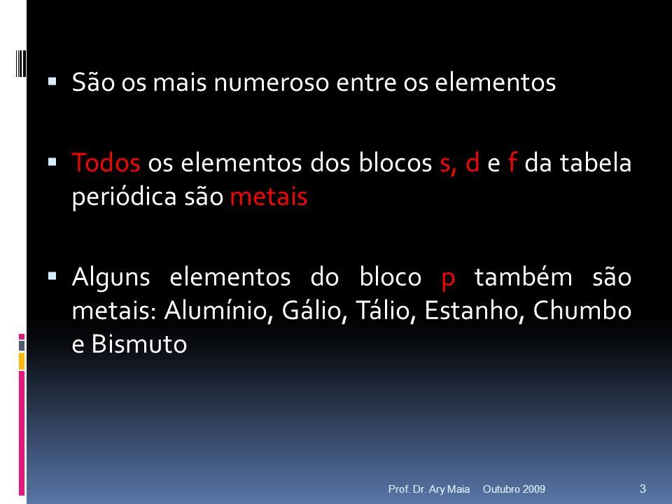 São os mais numeroso entre os elementos Todos os elementos dos blocos s, d e f da tabela periódica são metais Alguns elementos do bloco p também são metais: Alumínio, Gálio, Tálio, Estanho, Chumbo e Bismuto Outubro 2009 3 Prof.