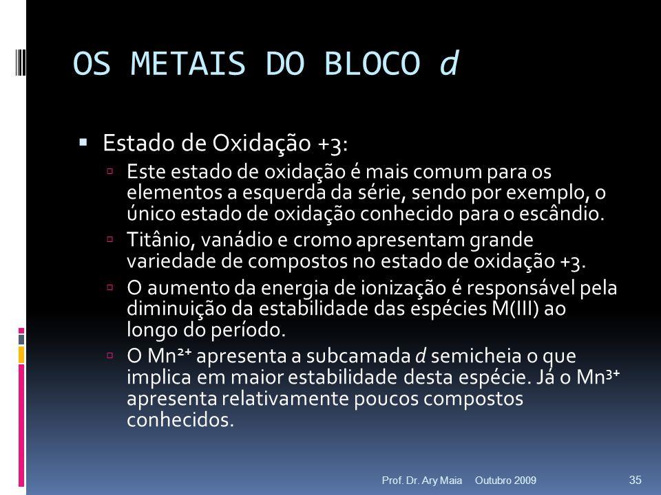 OS METAIS DO BLOCO d Estado de Oxidação +3: Este estado de oxidação é mais comum para os elementos a esquerda da série, sendo por exemplo, o único estado de oxidação conhecido para o escândio.