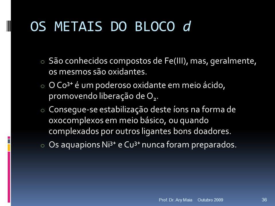 OS METAIS DO BLOCO d o São conhecidos compostos de Fe(III), mas, geralmente, os mesmos são oxidantes.