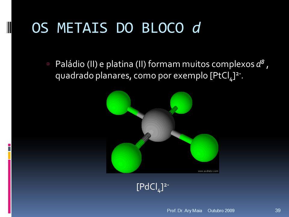 OS METAIS DO BLOCO d Paládio (II) e platina (II) formam muitos complexos d 8, quadrado planares, como por exemplo [PtCl 4 ] 2-.