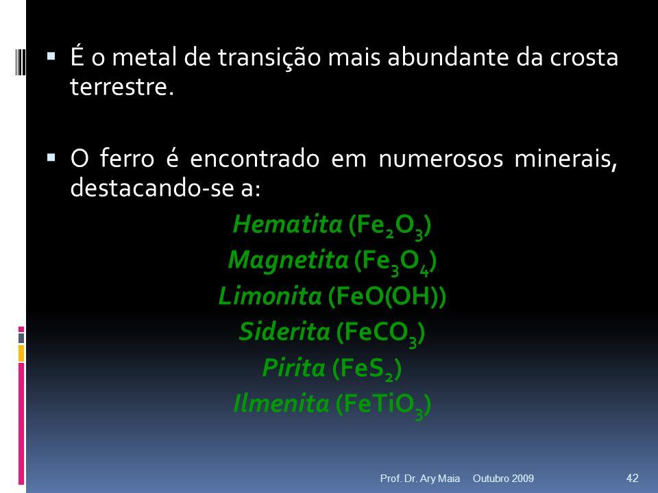 É o metal de transição mais abundante da crosta terrestre.