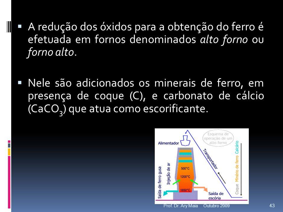 A redução dos óxidos para a obtenção do ferro é efetuada em fornos denominados alto forno ou forno alto.