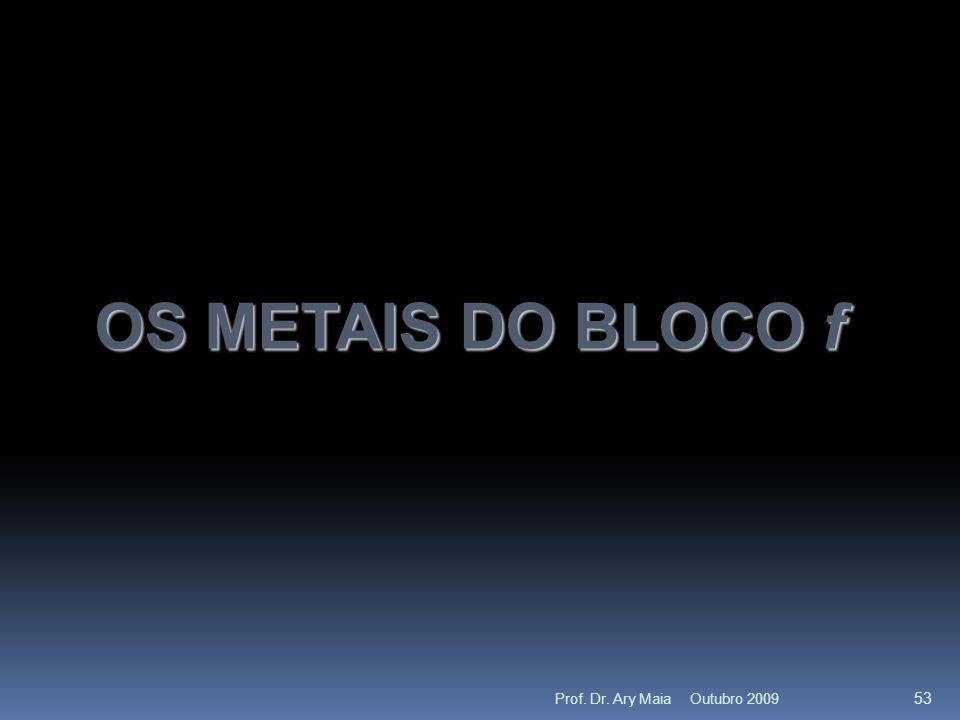 OS METAIS DO BLOCO f Outubro 2009 53 Prof. Dr. Ary Maia