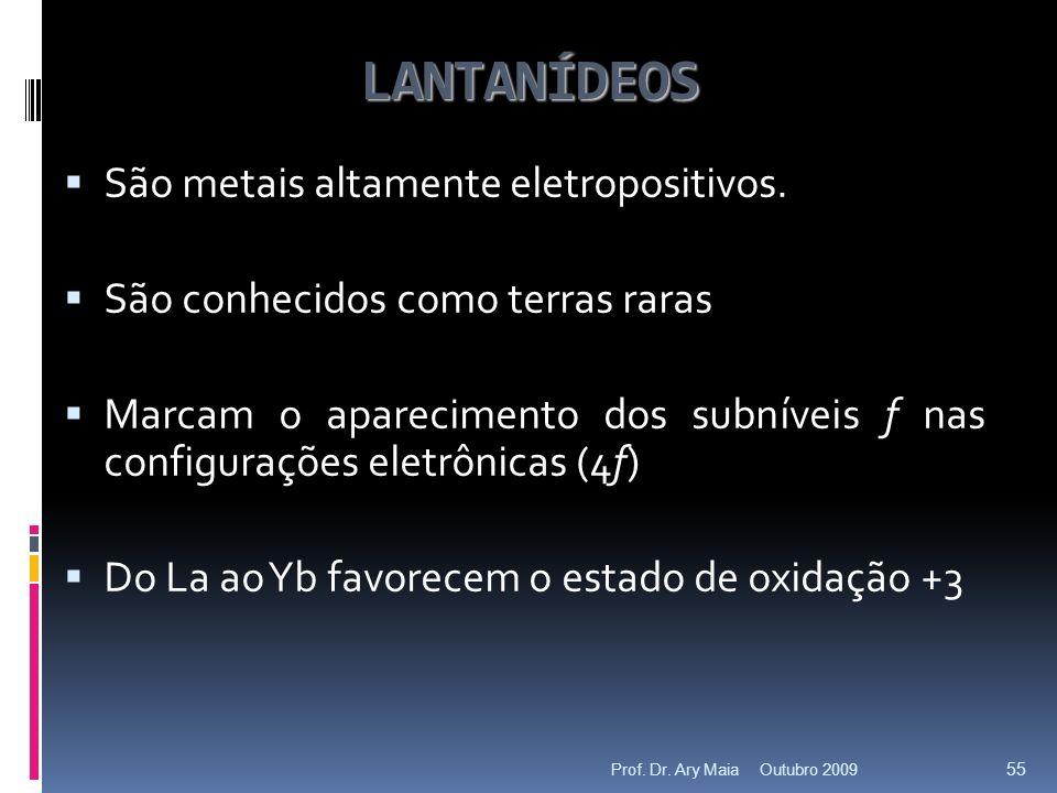 LANTANÍDEOS São metais altamente eletropositivos.