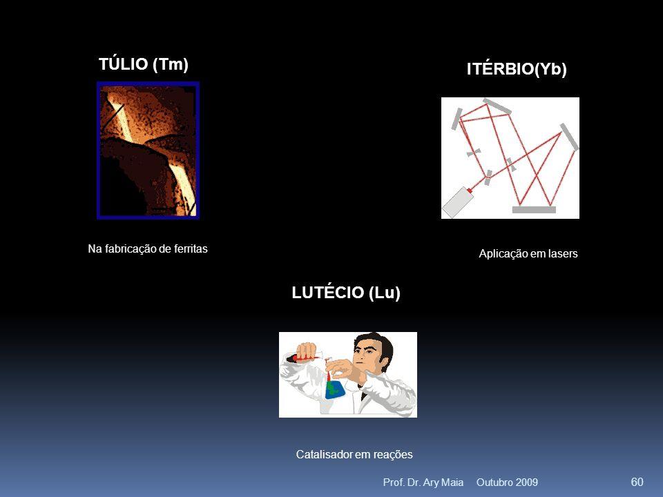 TÚLIO (Tm) Na fabricação de ferritas ITÉRBIO(Yb) Aplicação em lasers LUTÉCIO (Lu) Catalisador em reações Outubro 2009 60 Prof.